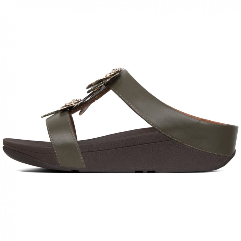 FITFLOP FINO DRAGONFLY T20 VERDE GRIS SANDALIA CUÑ